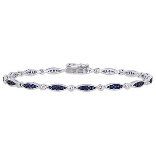Miadora Sterling Silver Created Blue and Created White Sapphire Infinity Link Bracelet