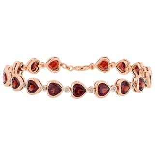 Miadora Rose Plated Sterling Silver 14 2/5ct TGW Heart-Cut Garnet Link Bracelet
