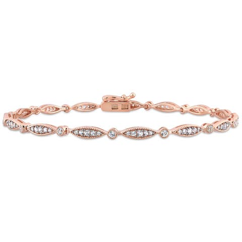 Miadora Rose Plated Sterling Silver Created White Sapphire Infinity Link Bracelet