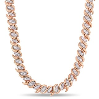 Miadora Rose Plated Sterling Silver 2ct TDW Diamond S-Link Tennis Necklace