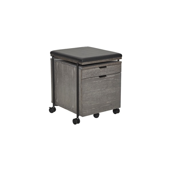 Standing Desk Grey Ash Wood Mobile Pedestal with Cushion