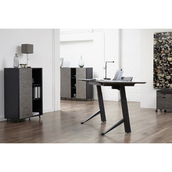 Grey Ash and Black 54-Inch Executive Electric Y-shaped Standing Desk