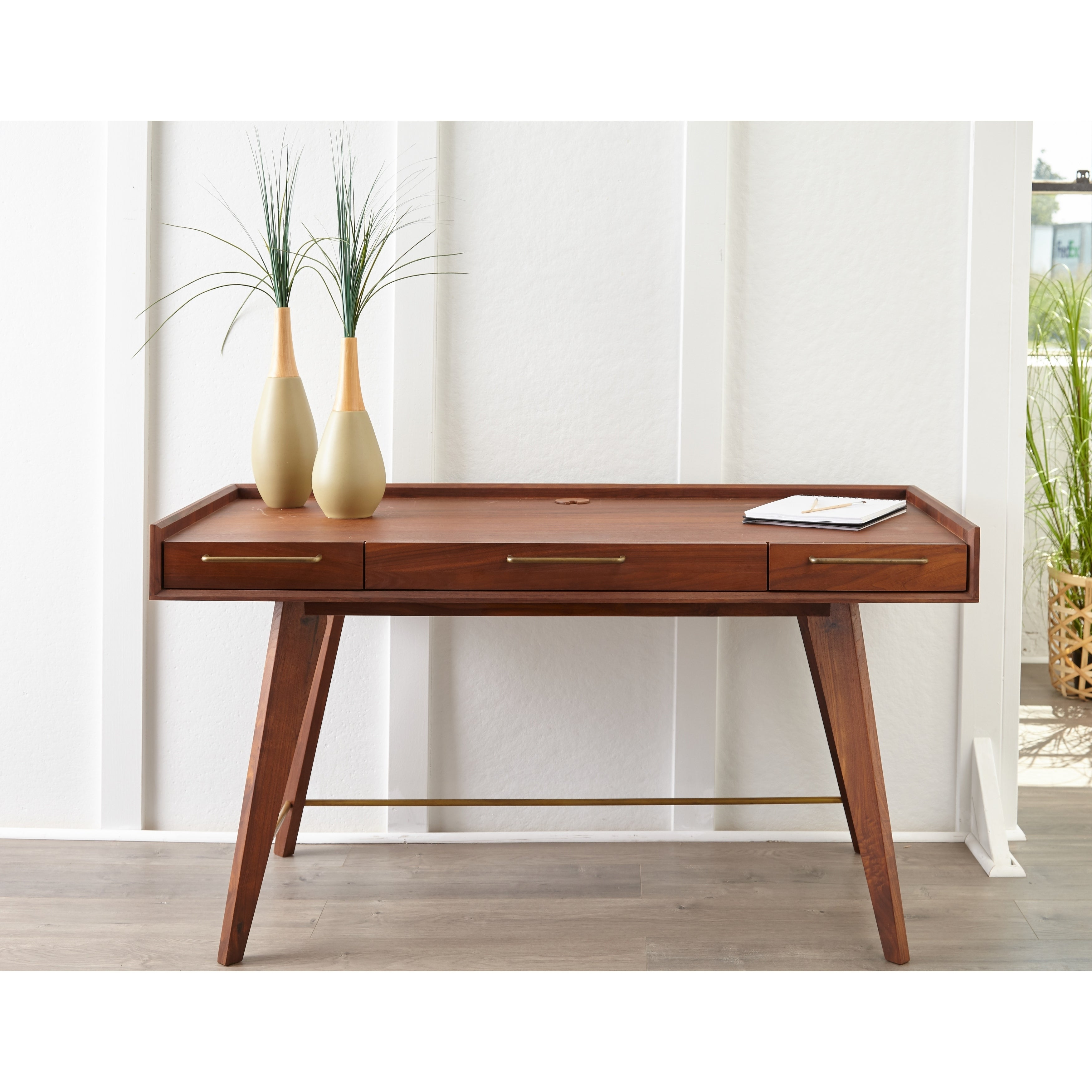 Waldorf Walnut Wood Desk With 3 Drawers