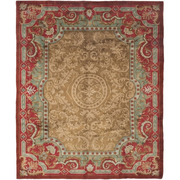 ECARPETGALLERY Hand-knotted Kathmandu Brown, Dark Red Wool Rug - 8'1 x 9'10