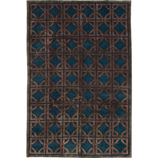 ECARPETGALLERY Hand-knotted Silk Touch Turquoise Silk, Wool Rug - 5'7 x 8'7