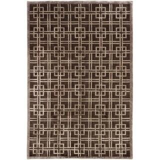 ECARPETGALLERY Hand-knotted Silk Touch Dark Silk, Wool Rug
