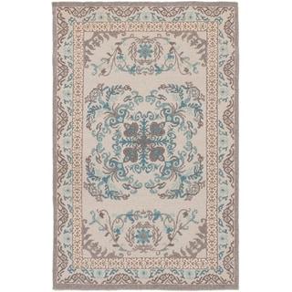 ECARPETGALLERY  Flat-weave Tamar Light Grey Wool Sumak - 3'6 X 5'6