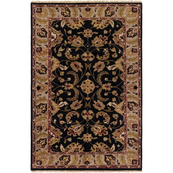 ECARPETGALLERY Hand-knotted Royal Mahal Black Wool Rug - 5'9 x 8'7