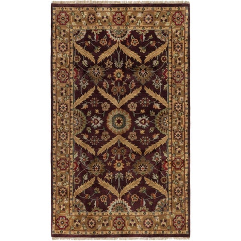 ECARPETGALLERY Hand-knotted Royal Mahal Burgundy Wool Rug - 5'1 x 8'8