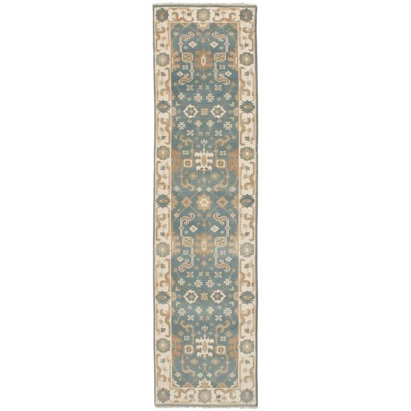 ECARPETGALLERY Hand-knotted Royal Ushak Turquoise Wool Rug - 2'6 x 10'0