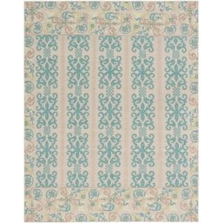 ECARPETGALLERY  Flat-weave Tamar Cyan, Khaki Wool Sumak - 7'9 x 9'9