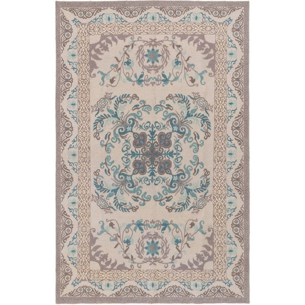 ECARPETGALLERY Flat-weave Tamar Light Grey Wool Sumak - 5'6 x 8'6