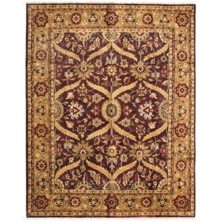 ECARPETGALLERY  Hand-knotted Royal Mahal Dark Burgundy Wool Rug - 8'0 x 10'0