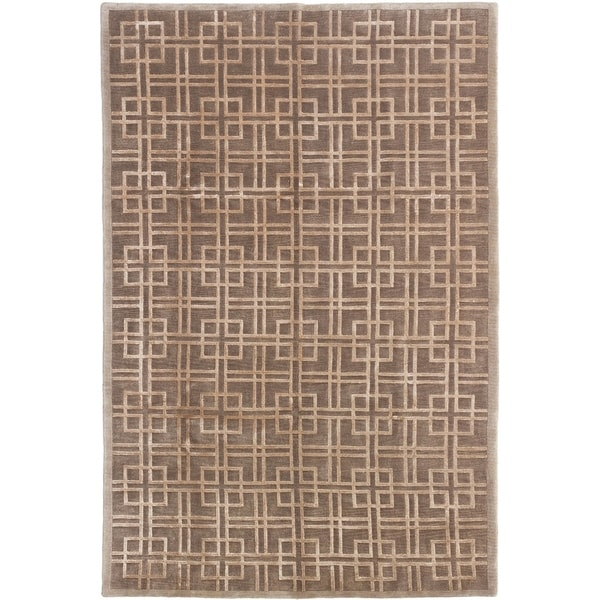 ECARPETGALLERY Hand-knotted Silk Touch Brown Silk, Wool Rug - 5'6 x 8'4
