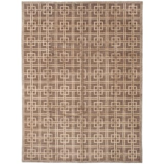 ECARPETGALLERY  Hand-knotted Silk Touch Brown Silk, Wool Rug - 8'7 x 11'8