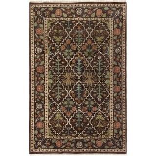 eCarpetGallery  Hand-knotted Royal Mahal Dark Brown Wool Rug - 5'5 x 8'6