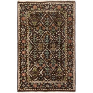 eCarpetGallery Hand-knotted Royal Mahal Dark Brown Wool Rug - 5'5 x 8'6