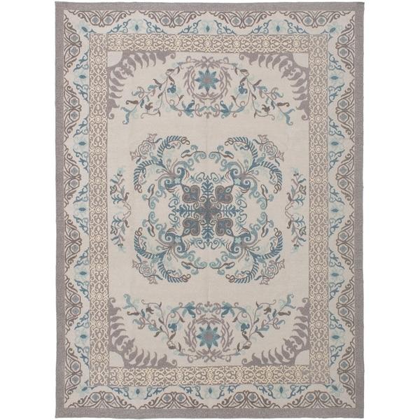 ECARPETGALLERY Flat-weave Tamar Light Grey Wool Sumak - 8'6 x 11'6