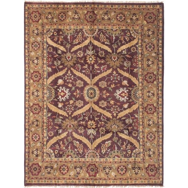 ECARPETGALLERY Hand-knotted Royal Mahal Dark Burgundy Wool Rug - 7'9 x 9'9