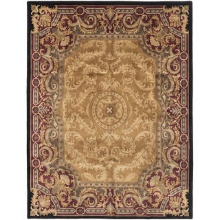ECARPETGALLERY  Hand-knotted Karma Tan Wool Rug - 7'10 x 9'10