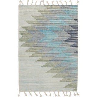 ECARPETGALLERY Flat-weave Kalista Grey, Light Blue Silk, Wool Kilim
