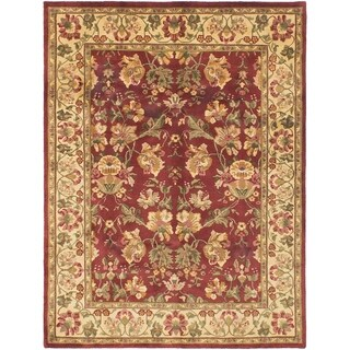 ECARPETGALLERY  Hand-knotted Varanasi Dark Red Wool Rug - 7'0 x 9'0