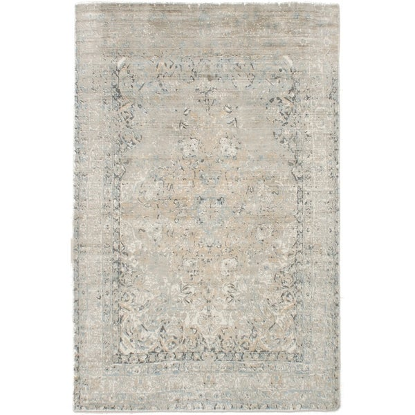 ECARPETGALLERY Hand Loomed Galleria Khaki Silk Rug - 5'0 x 8'0