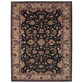 ECARPETGALLERY  Hand-knotted Finest Agra Jaipur Black Wool Rug - 8'6 x 11'6