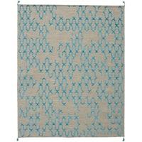 ECARPETGALLERY  Flat-weave Kalista Light Khaki, Sky Blue Silk, Wool Kilim - 7'10 x 9'10