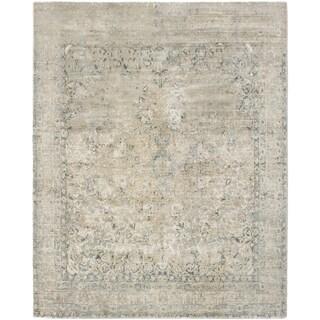 ECARPETGALLERY  Hand Loomed Galleria Khaki Silk Rug - 8'0 x 10'0