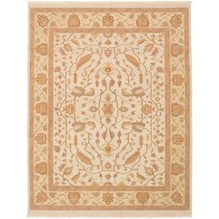 eCarpetGallery  Flat-weave Lahor Finest Cream Wool Sumak - 7'9 x 9'10