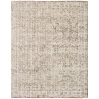 ECARPETGALLERY  Hand Loomed Galleria Beige, Grey Silk Rug - 8'0 x 10'0