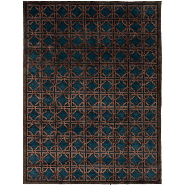 ECARPETGALLERY Hand-knotted Silk Touch Brown, Turquoise Silk, Wool Rug - 8'6 x 11'6