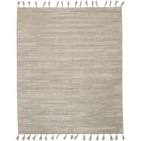 "ECARPETGALLERY  Flat-weave Kalista Light Khaki Silk, Wool Kilim - 7'10"" x 9'10"""