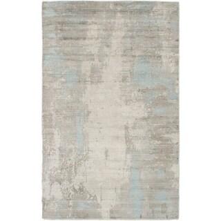 ECARPETGALLERY  Hand Loomed Galleria Light Grey Silk Rug - 5'0 x 8'0