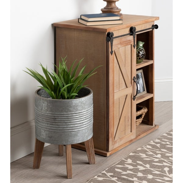Kate and Laurel Gavri Grey Metal Container Wood Stand Farmhouse-style Planter