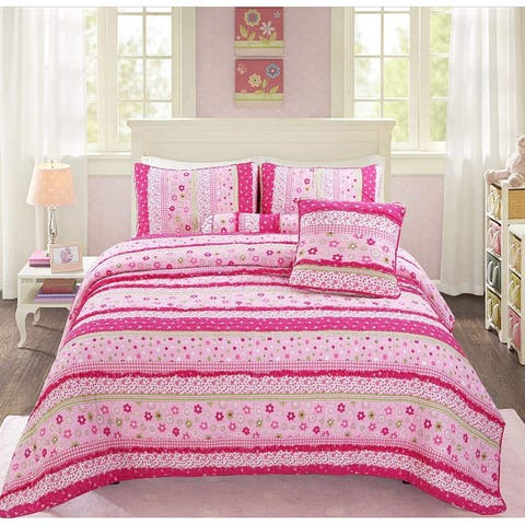 Cozy Line Silvia Pink Polka Dot Lace Reversible Cotton Quilt Set - Pink/Green/White