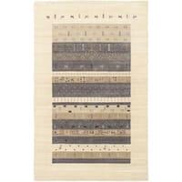 ECARPETGALLERY  Hand-knotted Kashkuli Gabbeh Cream, Dark Grey Wool Rug - 5' x 8'