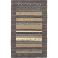 ECARPETGALLERY  Hand-knotted Kashkuli Gabbeh Dark Grey Wool Rug - 5'0 x 8'0
