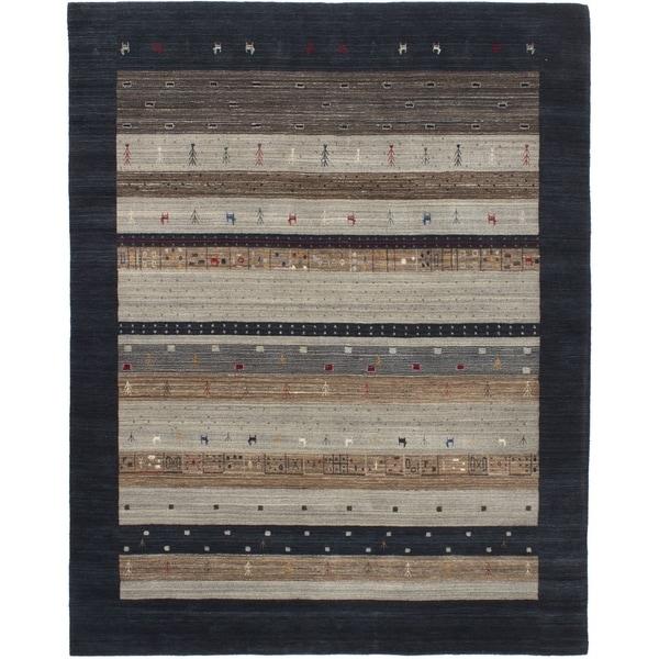 ECARPETGALLERY Hand-knotted Kashkuli Gabbeh Dark Navy, Grey Wool Rug - 8' x 10'