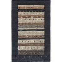 ECARPETGALLERY  Hand-knotted Kashkuli Gabbeh Dark Navy Wool Rug - 5' x 8'