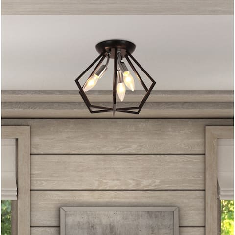 Septer 3 Light Geometric Flush Mount