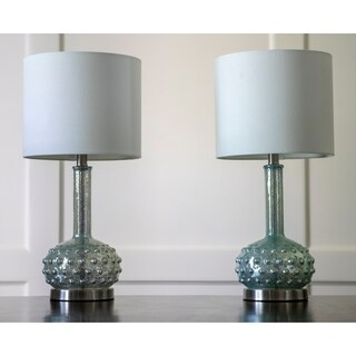 Set of 2 Mercury Glass Genie Lamps with Bubble Embellishments