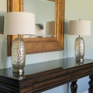 Set of 2 Antique Mercury Dimple Glass Table Lamps