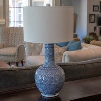 Suki Ceramic Blue, White LED Table Lamp