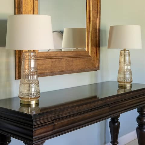 Set of 2 Embellished Glass Table Lamps