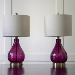 Set of 2 Plum Crackle Glass Table Lamps