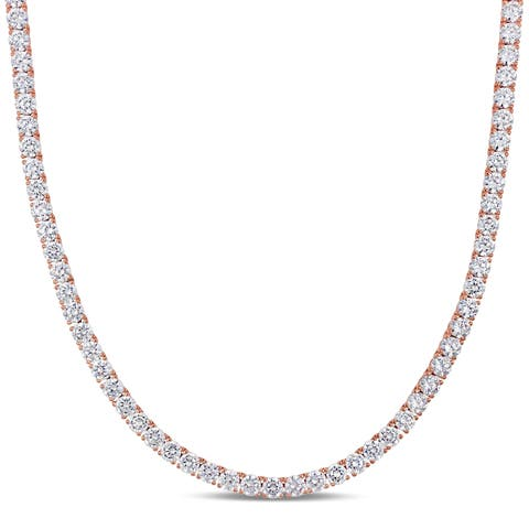 Miadora Rose Plated Sterling Silver 46 1/3ct TGW Cubic Zirconia Tennis Necklace