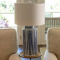 Silas Blue and White Ceramic LED Table Lamp
