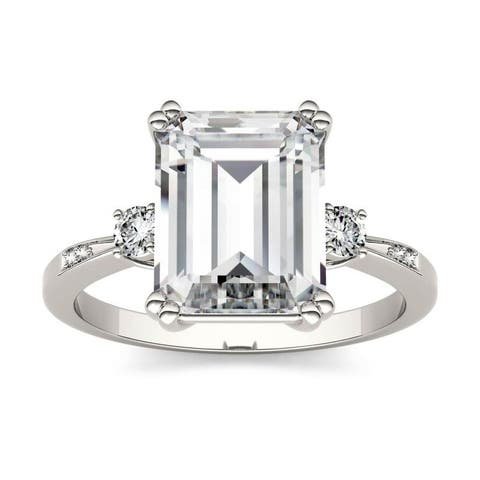 Moissanite by Charles & Colvard 14k White Gold 3.69 DEW Emerald Cut Solitaire Engagement Ring